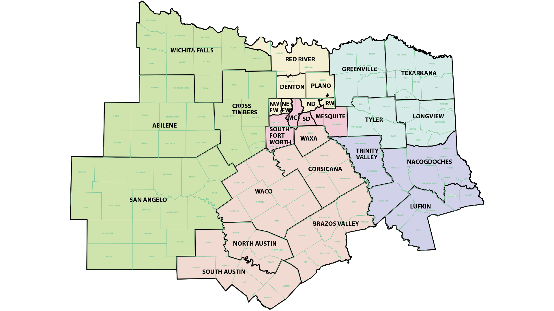 District Map North Texas District Council Of The Assemblies Of God - North texas map